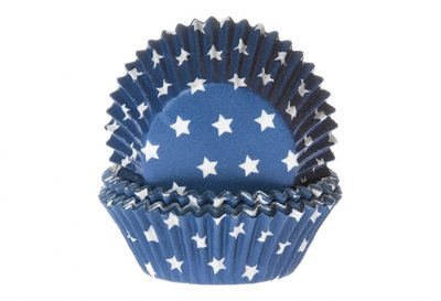 CUPCAKE CUPS  STARS BLUE 50X33 MM 50 ST.