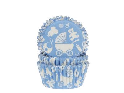 CUPCAKE CUPS BABY UITZET BLAUW 50X33 MM. 50 ST.