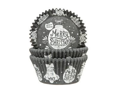 CUPCAKE CUPS SCHOOLBORD MERRY CHRISTMAS 50X33MM. 50ST.