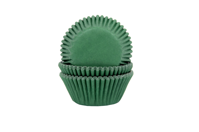 CUPCAKE CUPS DONKER (kerst-) GROEN 50X33MM. 50ST.